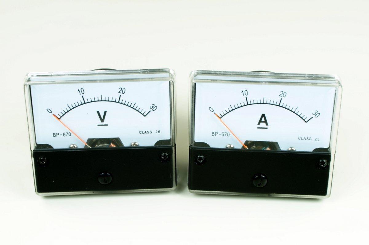 30V Voltmeter 30A Amperemeter DC analog Set Meßgeräte Einbaumeßgeräte product image