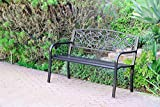 Jeco 50″W Scrolling Hearts Curved Back Steel Park Bench in Black and Gold Review