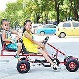 OUTAD Kinder Gokart 4 Räder, Stabiles 2 sitzen Go-Kart Rennkart Gokart Kinderfahrzeug Tretfahrzeug mit Handbremse Luftbereifung Für Kinder ab 6 Jahre (170*58*78cm) (Rot)