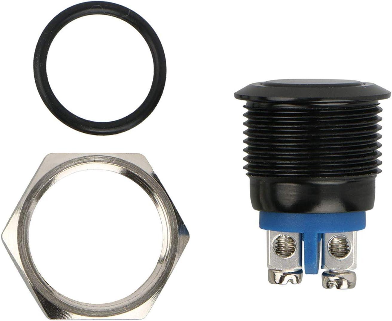 Interrupteur /à Bouton Rond Marine /étanche SPDT avec Voyant Bleu /à LED pour Bateau de Camion de Camping-Car Coque Noire Linkstyle 5pcs 16mm 5//8Interrupteur /à Bouton-Poussoir momentan/é en m/étal