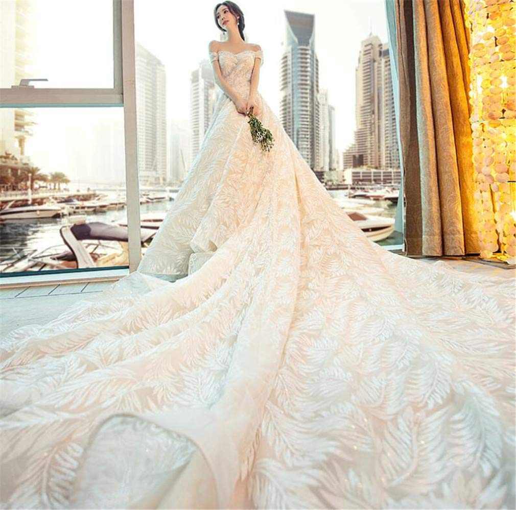 Wedding Dress, Europe and America Luxurious Noble Lace Sexy Strapless Strap Waist Slim Fit Dress