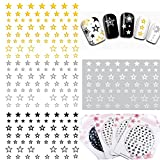 #2: MZCMSL 4 Sheets Gold Silver Black White Stars Nail Art Stickers 3D Self - Adhesive Decals