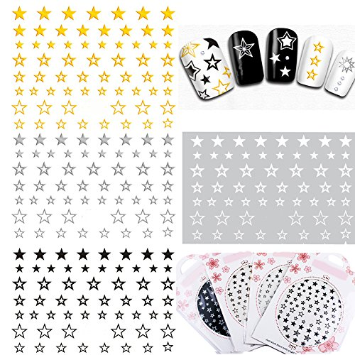 MZCMSL 4 Sheets Gold Silver Black White Stars Nail Art Stickers 3D Self - Adhesive Decals