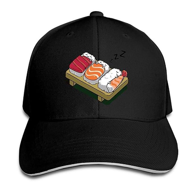 b4c877b69fbb5 Amazon.com  Kawaii Sleeping Sushi Black Unisex Sandwich Snapback Cap ...