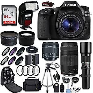 Canon EOS 80D DSLR Camera + Canon EF-S 18-55mm + Canon EF 75-300mm Lens & Telephoto 500mm f/8.0 + 0.43 Wide Angle Lens + 2.2 Telephoto Lens + Macro Filter Kit + 64GB Memory Card + Accessory Bundle