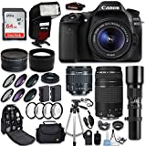 Canon EOS 80D DSLR Camera + Canon EF-S 18-55mm + Canon EF 75-300mm Lens & Telephoto 500mm f/8.0 + 0.43 Wide Angle Lens + 2.2 Telephoto Lens + Macro Filter Kit + 64GB Memory Card + Accessory Bundle Reviews