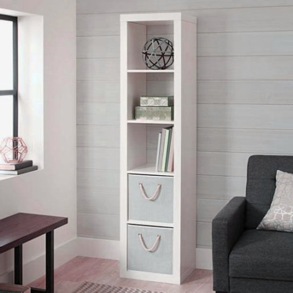 White Corner Shelving Unit Open Cube Shelving Unit Utility Storage Freestanding Living Room Standing Commercial Furniture Organizer & Ebook By Easy2Find.