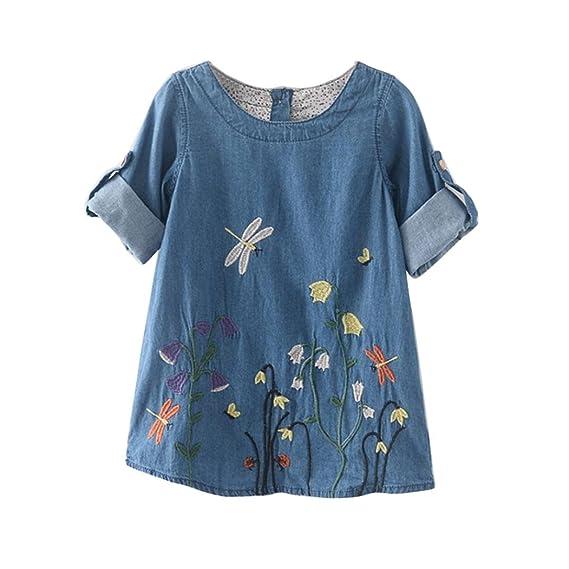 💜 Vestidos Niñas Fiestas Boda Mezclilla, Ropa para Niñas de Bebés Niños Ropa de Flores Bordado de Mezclilla Vestidos de Princesa Absolute: Amazon.es: Ropa ...