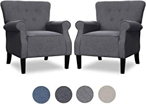 Top Space 2 PCS Accent Chair Sofa Mid Century Upholstered Arm Single Sofa Modern Comfy Furniture for Living Room,Bedroom,Club,Office