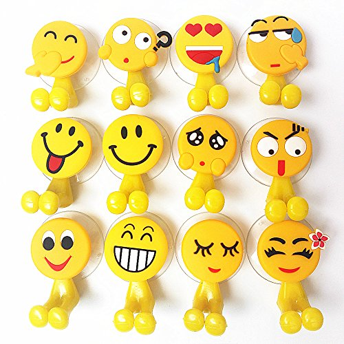 Cute Emoji Childrens Toothbrush Holder, Home and Bathroom Decoration ,Toiletries Accessories Organizers ,Office Cable Holder.(12 Sets) by Chzxhk