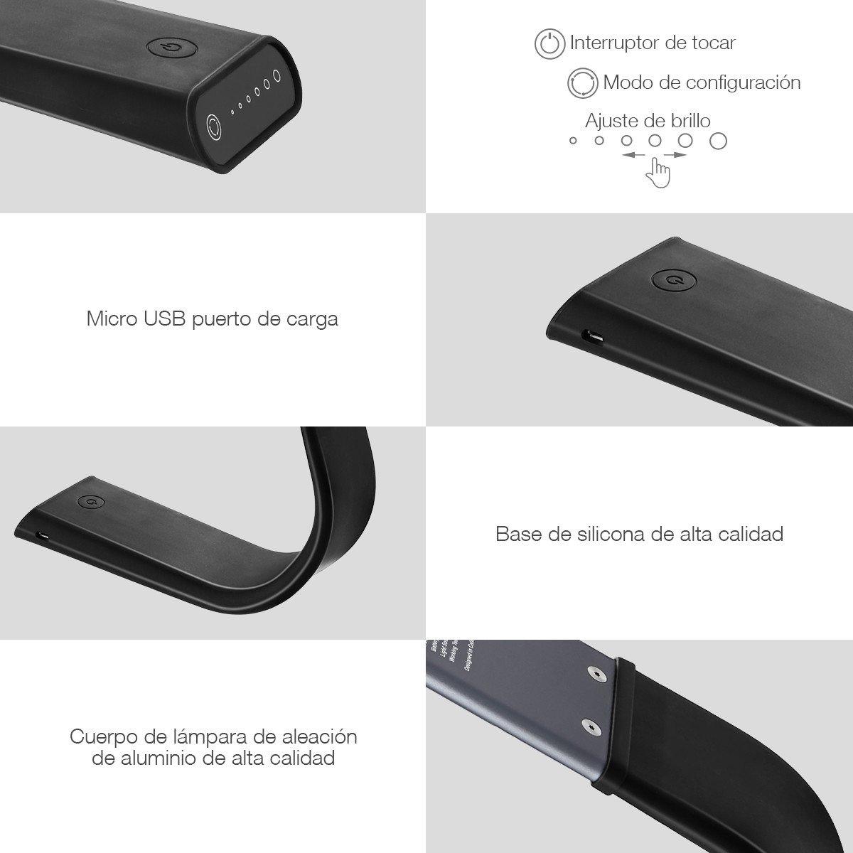 Poweradd Lámpara LED Sensible al tacto, Lámpara de mesa, 3 Modos de Luz y 6 Niveles de Brillo con Carga USB, Cuidado de los Ojos para Lectura, Escritura y Descanso