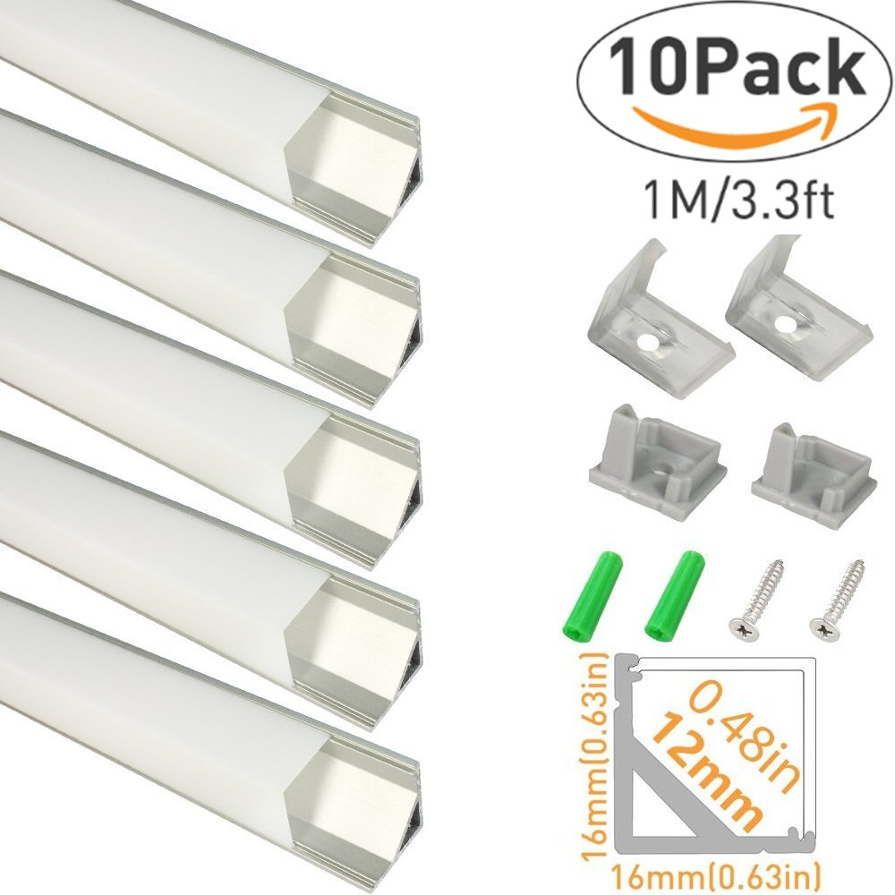 LightingWill LED Aluminum Channel V-Shape 10 Pack 3.3ft/1M Silver Corner Mounting Extrusion for <12mm width SMD 3528 5050 LED Strips with Oyster White Cover, End Caps and Mounting Clips V01S10