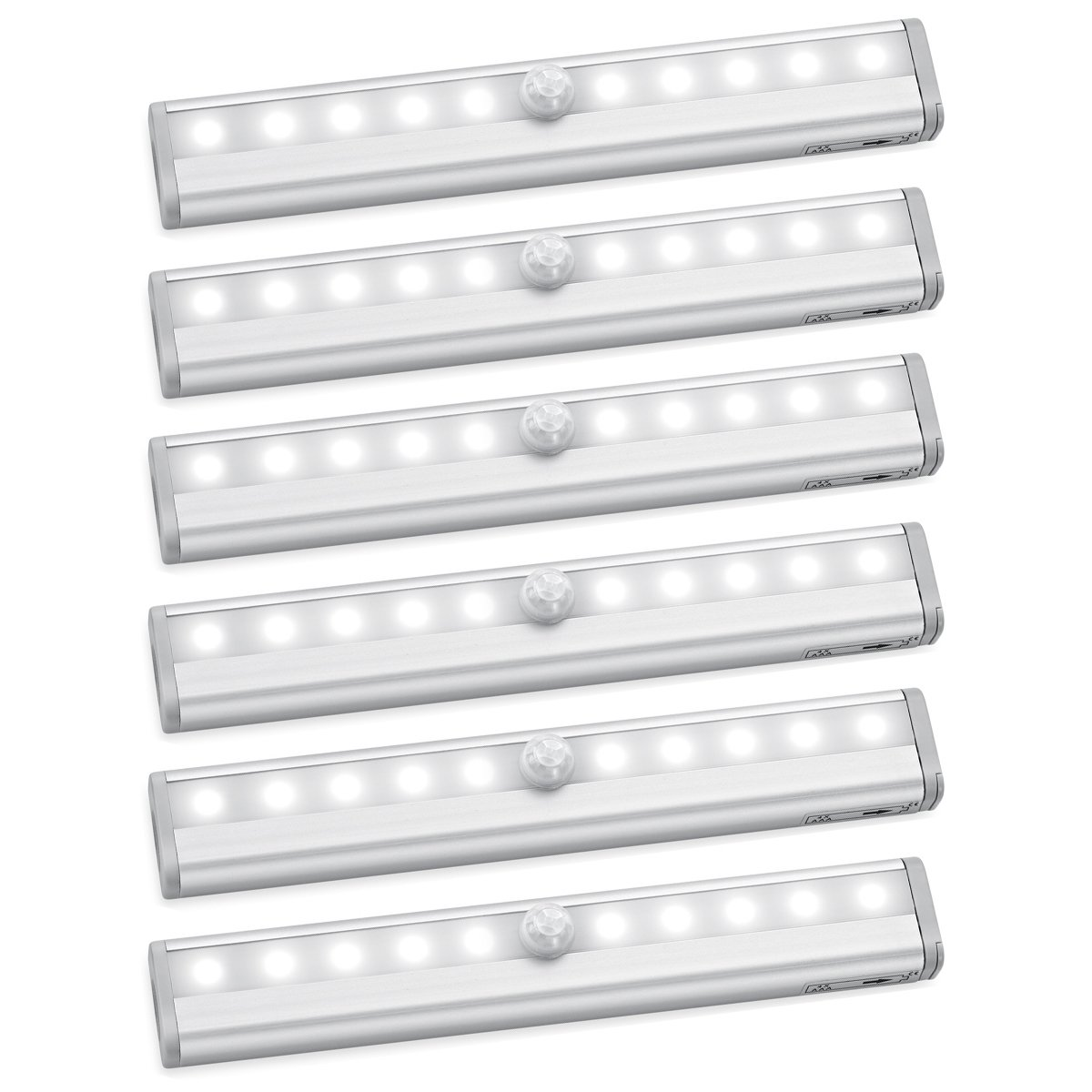 AMIR Motion Sensor Closet Lights, DIY Stick-on Anywhere Portable 10-LED Wireless Cabinet Night/Stairs/Step Light Bar with Magnetic Strip Battery Operated (Cool White - Pack of 6) by AMIR