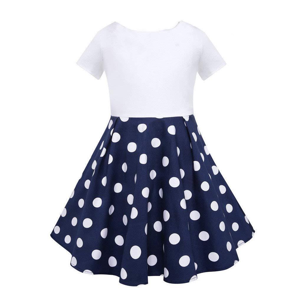 Baby M/ädchen Kleider Punktdruck Prinzessin Kleid Kinder Sommerkleider Vintage Abendkleider Hochzeits Partykleid Festlich Kleider Babybekleidung Riou