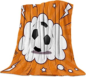"""wanxinfu 49"""" x 79"""" Soft Throw Blanket for Bed Couch Sofa, Football Cartoon Symbol Exclamation Point - Lightweight Travelling Camping Throw Warm Cozy Blanket Size for Kids Adults All Season"""