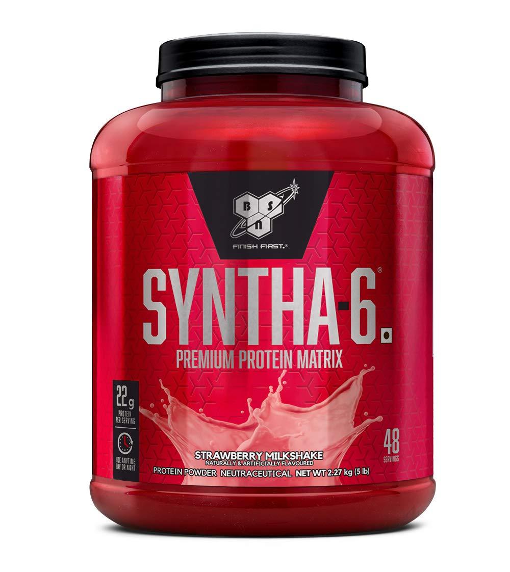 BSN Syntha 6 Protein Powder - 5 lbs, 2.27 kg (Strawberry Milkshake)