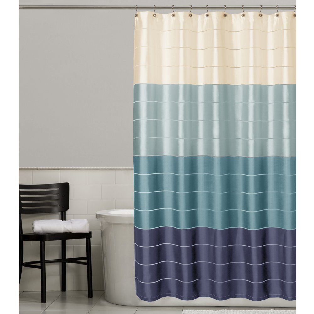 Amazoncom Maytex Rosalie Fabric Shower Curtain Blue Home  Kitchen - Brown and turquoise shower curtain