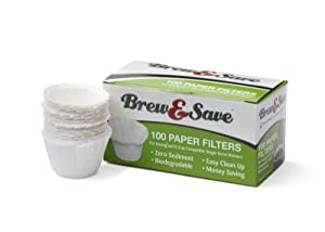 Brew & Save 100 Count Paper Filter, Compatible in Most Reusable Filters for Keurig and K-Cup - White