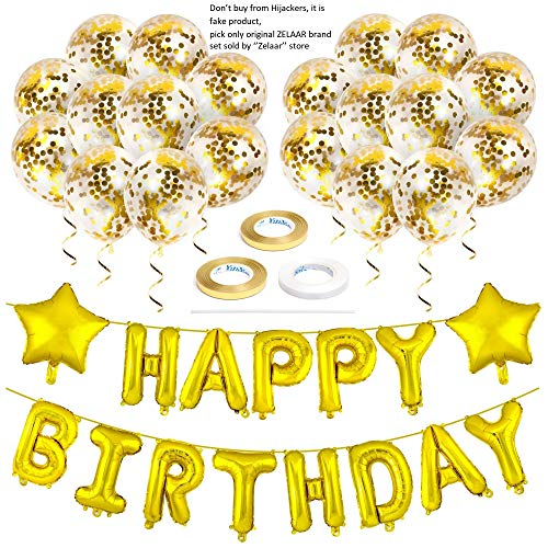ZELAAR Happy Birthday Balloons Party Decorations - Gold Birthday Decorations Set with Happy Birthday Banner Foil Letter Balloons, Star Balloons, Ribbon and Confetti Balloons for Kids and Adults