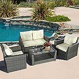 GHP 4 Pcs Gray Wicker Rattan Sofa Furniture Set Patio/Garden w Cushioned Seat