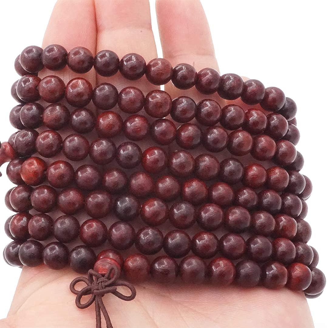 Senlinmu 108 Perles en Bois de Santal Naturel Collier//Bracelet Cha/îne Chapelet 8mm-Perles Tib/étain Bouddhiste Bouddha Mala Chinois Noeud /Élastique Homme Femme