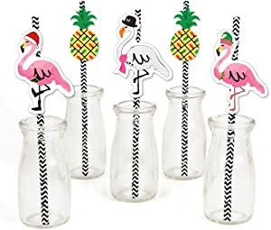 Big Dot of Happiness Flamingle Bells - Paper Straw Decor - Tropical Flamingo Christmas Party Striped Decorative Straws - Set of 24
