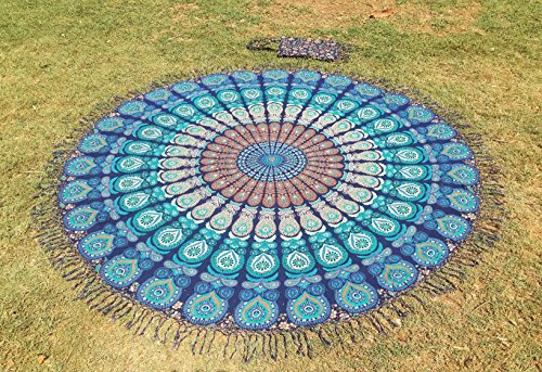 Apoorva's Handmade Frindge Roundie, Mandala Round, Beach Blanket, Picnic Beach Sheet, Yoga Sheet, Meditation Yoga Mat with Beautiful Carry Bag