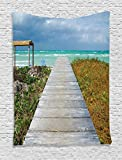 Ambesonne Seaside Decor Collection, A View of a Wooden Footbridge on a Cuban Beach Horizon Cloudy Sky Nature Picture, Bedroom Living Room Dorm Wall Hanging Tapestry, Aqua Blue Beige