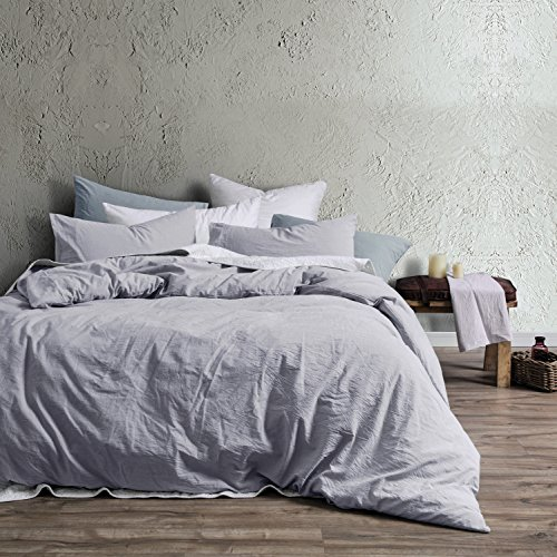 Violet Blue Natural - Eikei Washed Cotton Chambray Duvet Cover Solid Color Casual Modern Style Bedding Set Relaxed Soft Feel Natural Wrinkled Look (King, Faded Violet)
