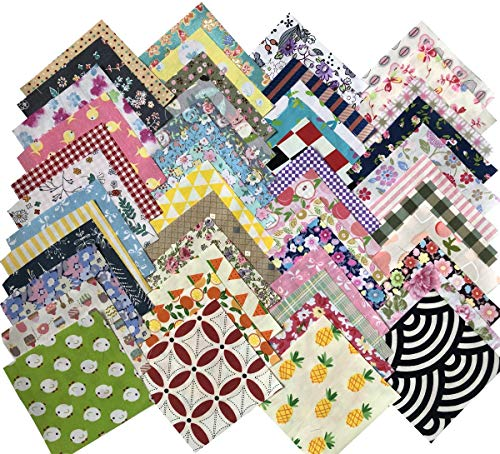 Gnognauq 200 pcs Fabric Squares Sheets Patchwork Craft Cotton Quilting Fabric Bundles DIY Patchwork Crafts with with Different Patterns for Crafts (10cmx10cm) -