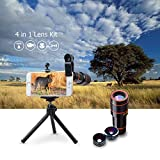 4 in 1 12x Zoom Telephoto Lens + Fisheye + Wide Angle + Macro Lens with Phone Holder + Tripod for iPhone X/8/ 7 /6/6s plus SE Samsung HTC Google Huawei LG Ipad Tablet PC Laptops