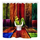 Bathroom Shower Curtains Window Curtains Animals Shower Curtain, Frog Sat on Sofa in Front of Color Wooden Wallpaper, Mildew Resistant Waterproof Polyester Fabric Bathroom Decor, Bath Curtains Accessories, with Hooks, 69X70 Inches