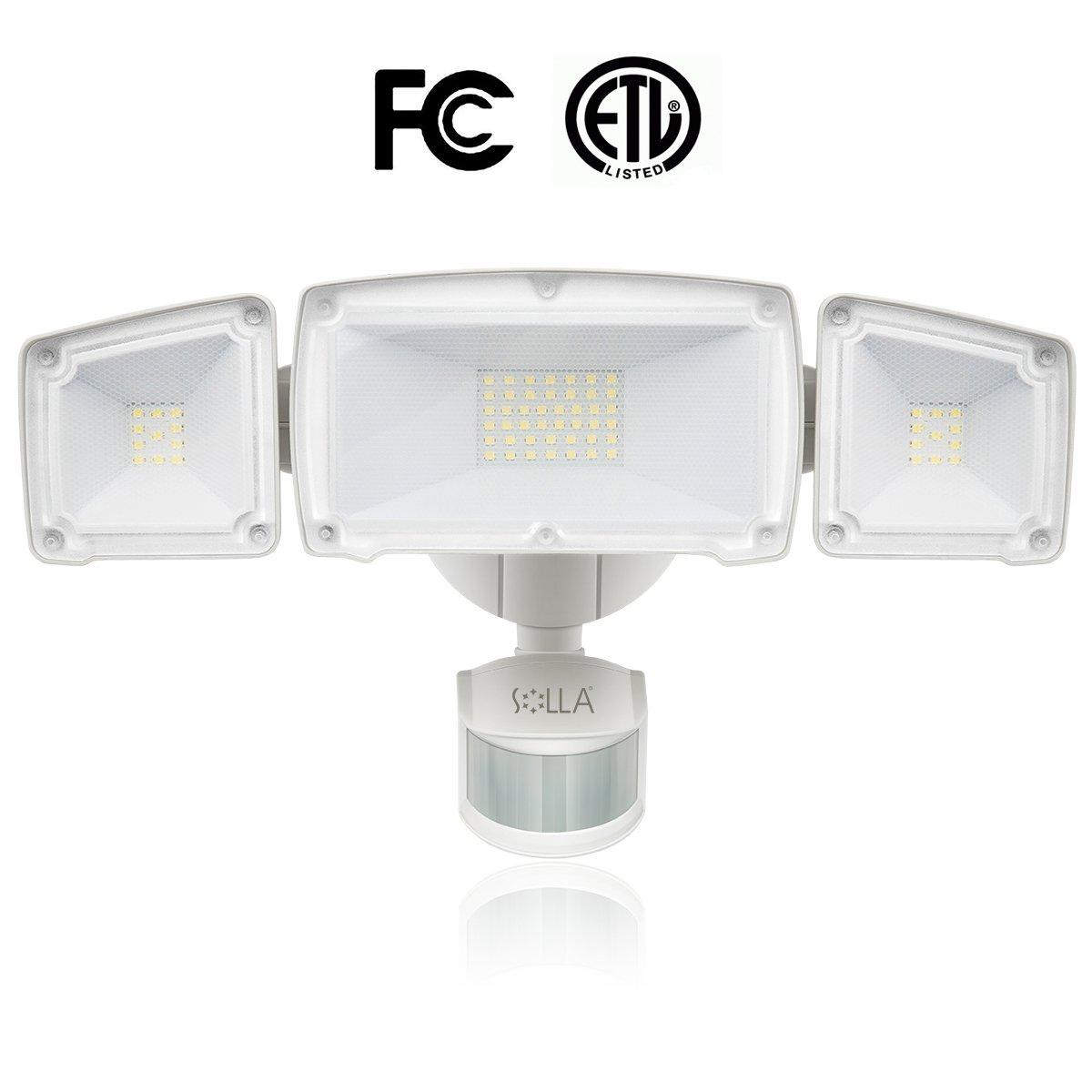 SOLLA LED Security Light, 39W (200W Equivalent) Outdoor Motion Sensor Light, 3000lm, 6000K Daylight White, Waterproof IP65 & ETL, 3 Adjustable Head, 120v