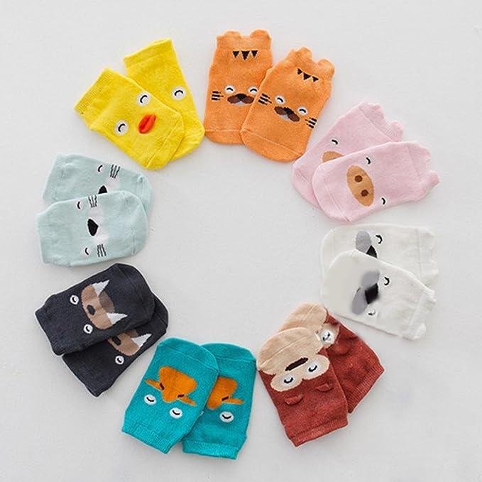 Soft Elastic Ankle Socks for Infant Girls Boys Blawardo Toddler Girl Socks Cotton Non Skid//Cute Cartoon Socks 8 Pcs with Grips