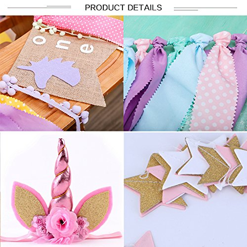WINGOFFLY Burlap First Birthday Highchair Banner with Birthday Hat,Happy Birthday and Round Bunting 1st Happy Birthday Party Decorations Set for Baby, Unicorn B