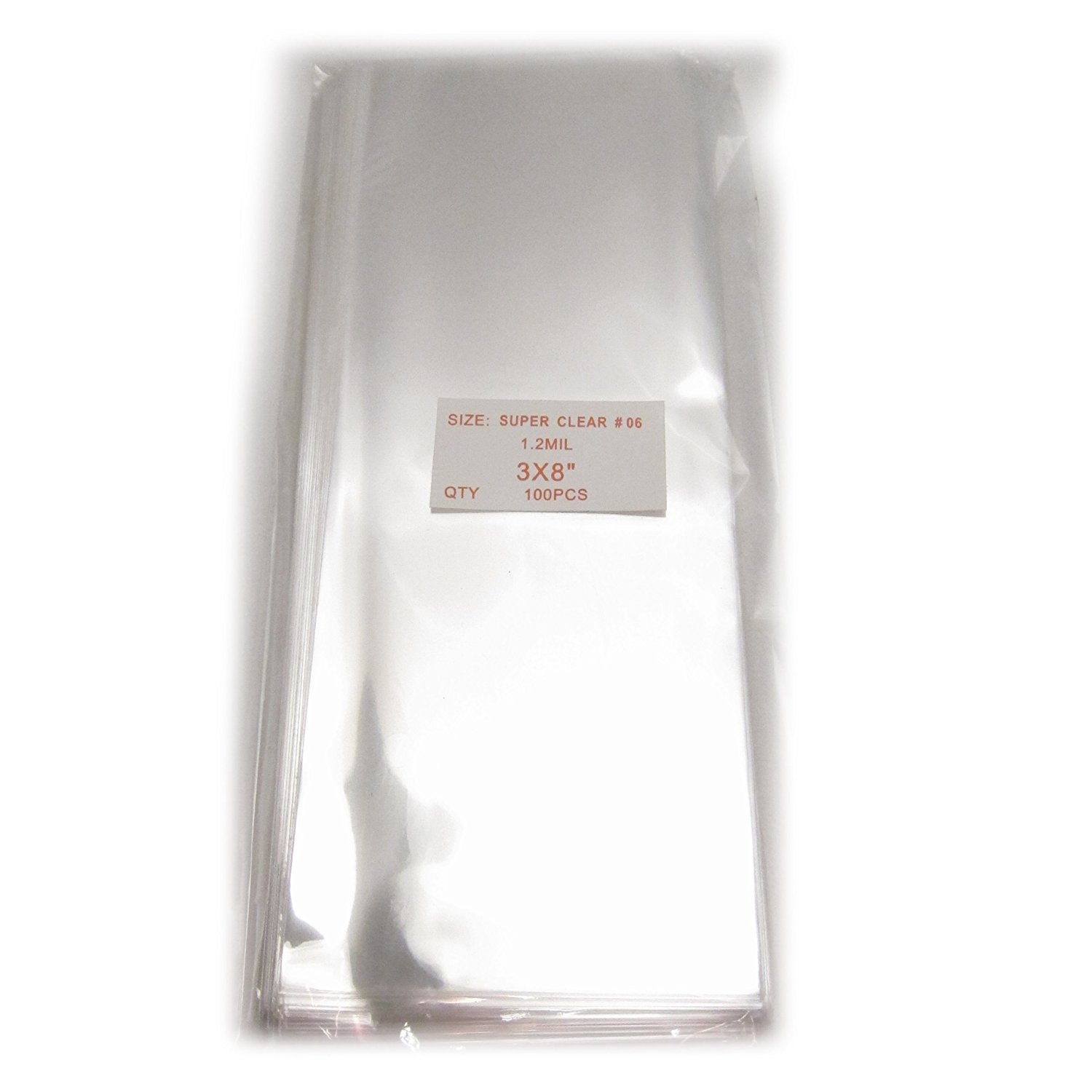100x Clear Flat Cello Treat Bag 3x8 inch
