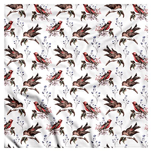 Birds Bandana by Lunarable, Vintage Watercolor Effect Sparrows on Tree Branches Botanical Arrangement, Printed Unisex Bandana Head and Neck Tie Scarf Headband, 22 X 22 Inches, Brown Scarlet - Scarlet Sparrow