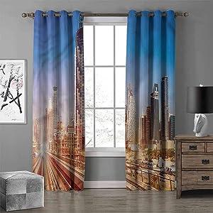 RenteriaDecor Urban Neo-Classical Curtains Modern Subway Line in Dubai Energy Saving & Noise Reducing Bedroom Curtains W96 X L84 Inch