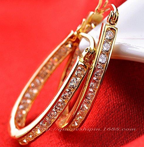 Jesming Fashion 18 K Gold Filled Topaz Drop Stud Earrings Jewelry (18k Topaz Ring)