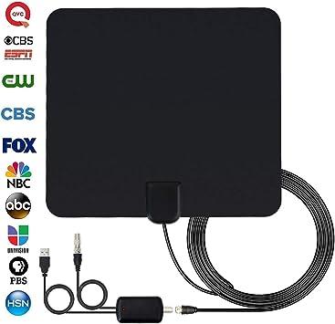 MIZOO Antena de TV amplificada HD digital de largo alcance de 65 a 80 millas ultra