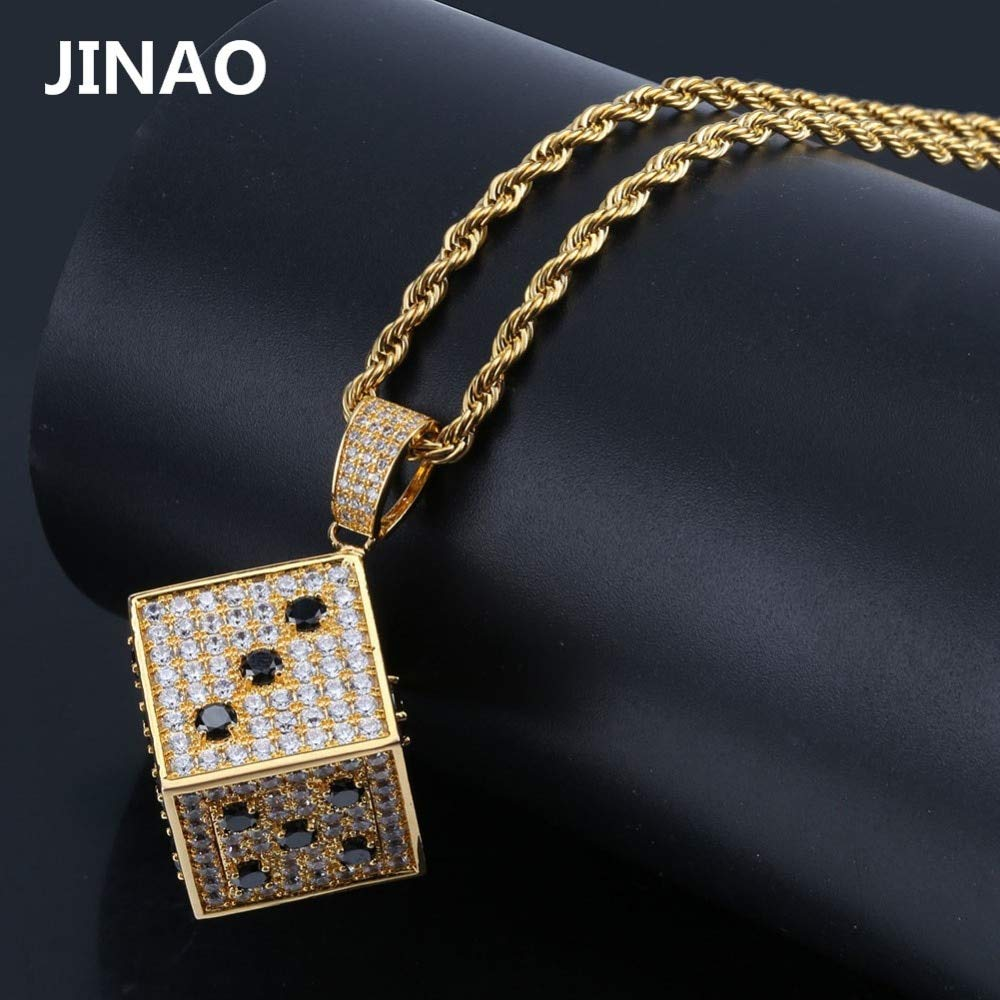 Iced Out Gold Silver Dice Men Pendant Necklace Charm Fashion Cubic Zircon Pendant Hip Hop Square Pendant with Optional Chains Metal Color: Cuban Chain, Main Stone Color: Silver, Length: 24inch