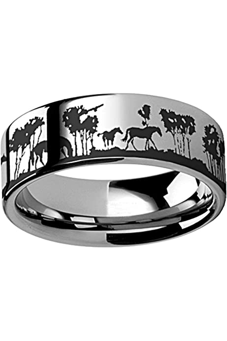 Thorsten Animal Nature Landscape Reindeer Deer Stag Forest Trees Ring Black Tungsten Ring 6mm Wide Wedding Band from Roy Rose Jewelry