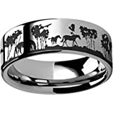 Thorsten Multiple Fishing Hook Pattern Ring Flat Black Tungsten Ring 12mm Wide Wedding Band from Roy Rose Jewelry