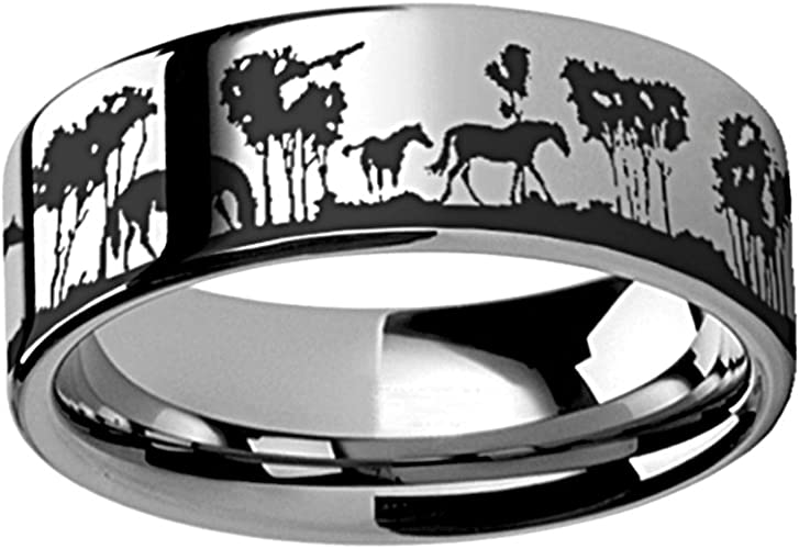 Thorsten Animal Landscape Wild Horses in Trees Scene Print Pattern Ring Polished Tungsten Ring 8mm Wide Wedding Band from Roy Rose Jewelry