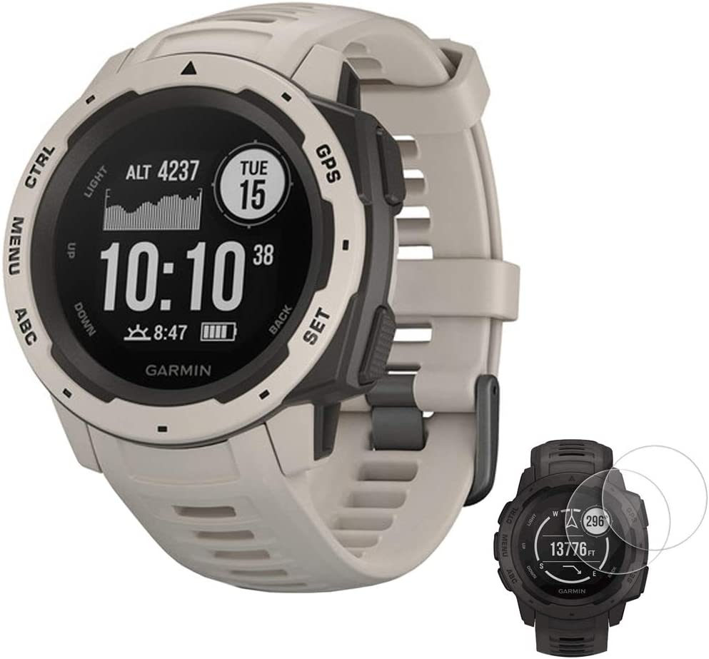Garmin Instinct Rugged Outdoor Watch with GPS and Heart Rate Monitoring Tundra 010-02064-01 with Deco Essentials 2-Pack Screen Protector Instinct
