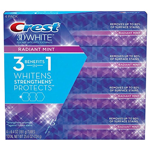 Crest 3D White Toothpaste, Radiant Mint (6.4 oz., 4 pk.)
