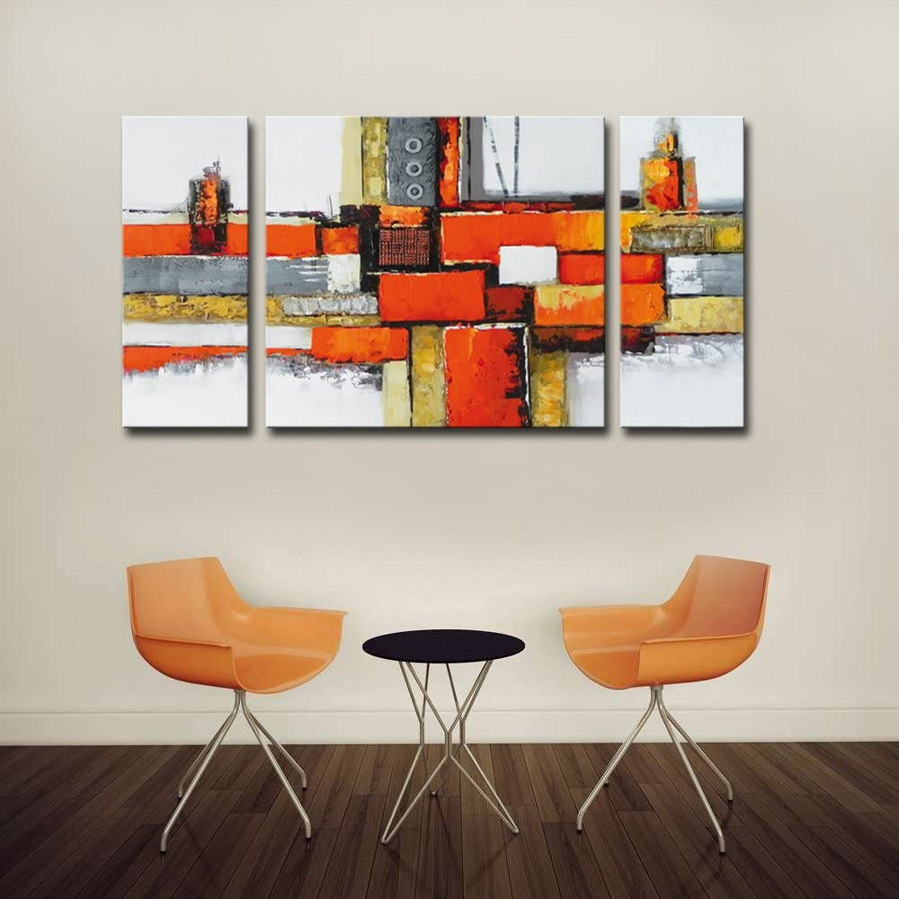 Noah Art-Contemporary Abstract Artwork 100/% Hand Painted Gallery Wrapped Abstract Oil Paintings on Canvas 3 Piece Framed Large Orange Abstract Wall Art for Living Room Wall Decor 24 H x 48 W