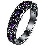 BOHG Jewelry Womens Black Gold Plated New Fashion Mysti Purple Amethyst Cubic Zircon Crystal Ring Wedding