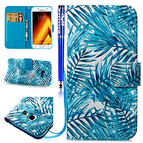 EUWLY Case for Samsung Galaxy A5 2017,Samsung Galaxy A5 2017 Leather Wallet Case,3D Stereoscopic Painting Ultra-Thin Slim PU Leather Protective Sleeve Stand Feature with Lanyard Book Style Magnetic Cl Banana leaves