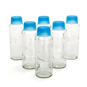 Aquasana Glass Water Bottles and BPA Free Lid, 18-oz, 6-pack